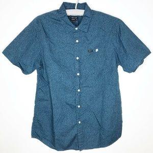 RVCA Blue Short Sleeve Button Up Shirt Medium